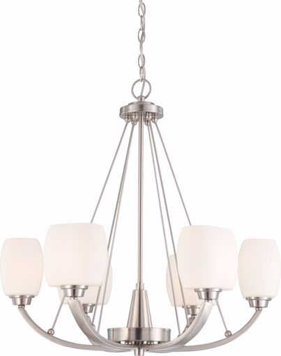 Picture of NUVO Lighting 60/4186 Helium - 6 Light Chandelier with Satin White Glass