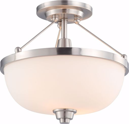 Picture of NUVO Lighting 60/4188 Helium - 2 Light Semi Flush Fixture with Satin White Glass