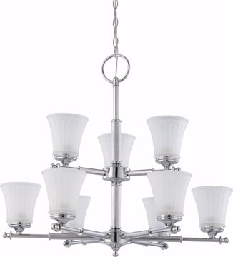 Picture of NUVO Lighting 60/4269 Teller - 9 Light Two Tier Chandelier with Frosted Etched Glass