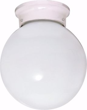 """Picture of NUVO Lighting 60/436 ES - 1 Light 13W 6"""" Ball Flush White / White Glass"""