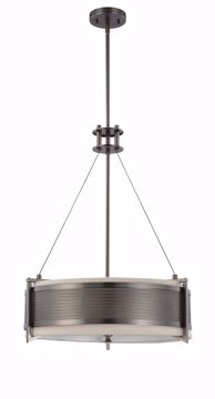 Picture of NUVO Lighting 60/4433 Diesel - 4 Light Round Pendant with Khaki Fabric Shade