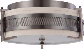 Picture of NUVO Lighting 60/4436 Diesel - 3 Light Medium Flush with Khaki Fabric Shade