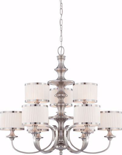 Picture of NUVO Lighting 60/4739 Candice - 9 Light Chandelier with Pleated White Shades