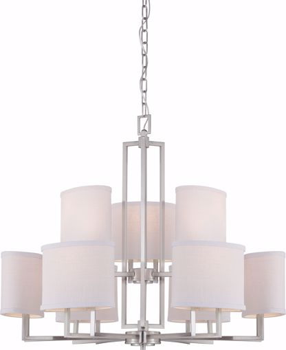 Picture of NUVO Lighting 60/4759 Gemini - 9 Light Chandelier with Slate Gray Fabric Shades