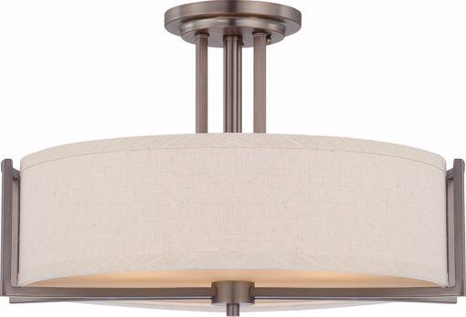Picture of NUVO Lighting 60/4858 Gemini - 3 Light Semi Flush Fixture with Khaki Fabric Shade