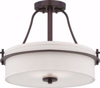Picture of NUVO Lighting 60/5007 Loren - 2 Light Semi Flush with White Linen Shade