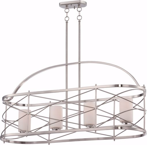 Picture of NUVO Lighting 60/5334 Ginger - 4 Light Island Pendant with Etched Opal Glass