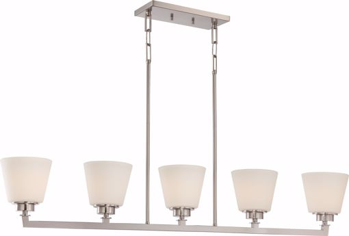 Picture of NUVO Lighting 60/5455 Mobili - 5 Light Island Pendant with Satin White Glass