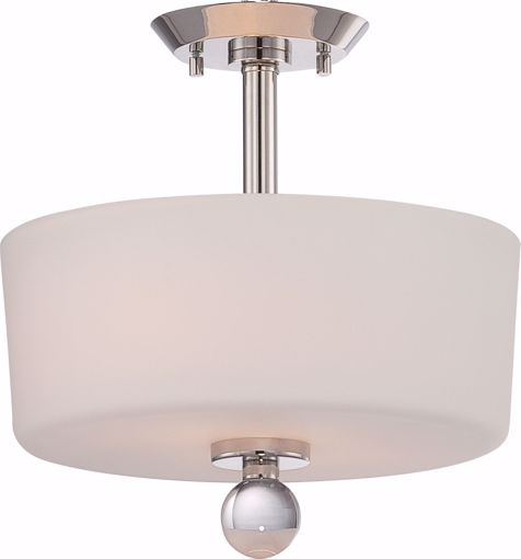 Picture of NUVO Lighting 60/5497 Connie - 2 Light Semi Flush with Satin White Glass