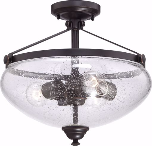 Picture of NUVO Lighting 60/5544 Laurel - 3 Light Semi Flush with Clear Seeded Glass