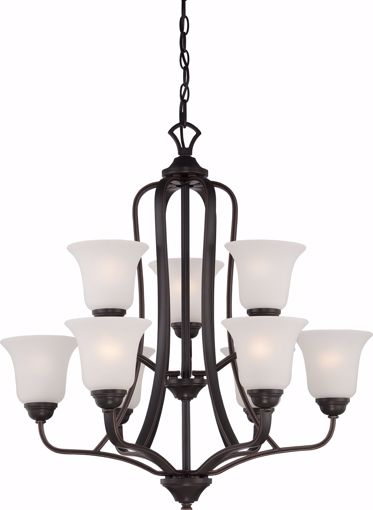Picture of NUVO Lighting 60/5699 Elizabeth - 9 Light - 2 Tier Chandelier with Frosted Glass