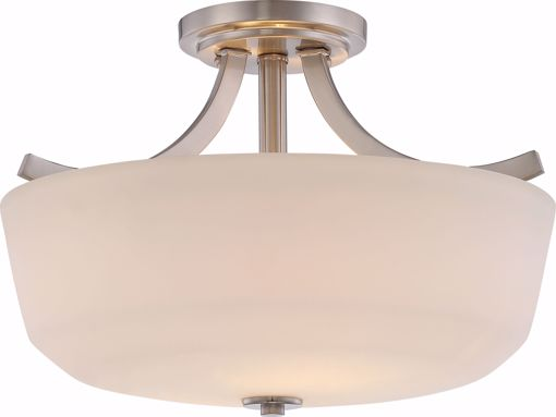 Picture of NUVO Lighting 60/5826 Laguna - 2 Light Semi Flush with White Glass