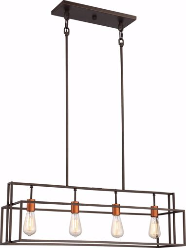 Picture of NUVO Lighting 60/5854 Lake - 4 Light Island Pendant; Bronze with Copper Accents Finish