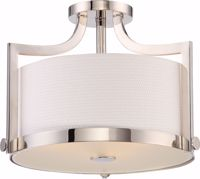 Picture of NUVO Lighting 60/5883 Meadow - 3 Light Semi Flush Fixture with White Fabric Shade; Polished Nickel Finish