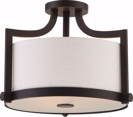 Picture of NUVO Lighting 60/5888 Meadow - 3 Light Semi Flush Fixture with White Fabric Shade; Russet Bronze Finish