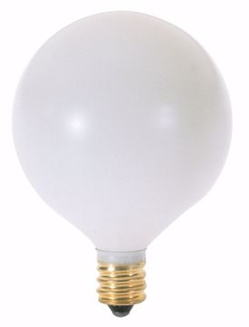 Picture of SATCO A3932 60W G16 1/2 SAT WH CAND 130V Incandescent Light Bulb