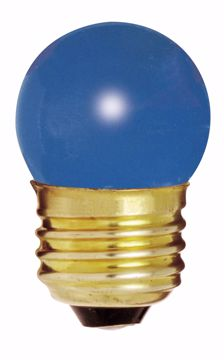 Picture of SATCO S3608 7 1/2W S11 Standard BLUE Incandescent Light Bulb