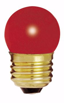 Picture of SATCO S3611 7 1/2W S11 Standard RED Incandescent Light Bulb