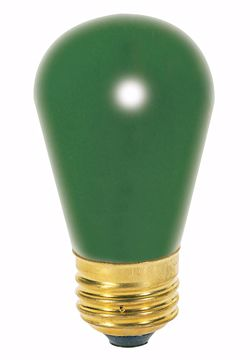 Picture of SATCO S3962 11S14 GREEN Incandescent Light Bulb