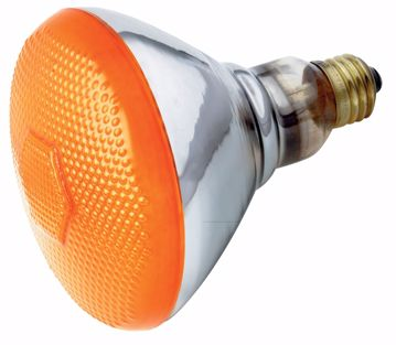 Picture of SATCO S4425 100W BR-38 AMBER 120 Volt Incandescent Light Bulb