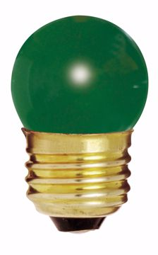 Picture of SATCO S4509 7 1/2W S11 GREEN 1/CD Incandescent Light Bulb