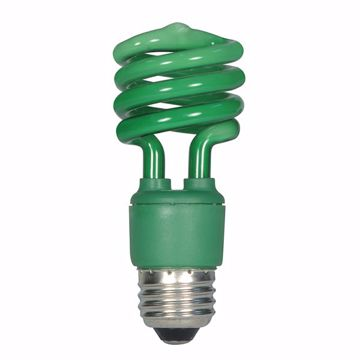 Picture of SATCO S5513 13T2/E26/GREEN/120V/1BL Compact Fluorescent Light Bulb
